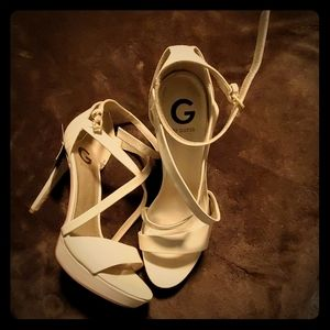 Size 10 G by Guess nude strappy stilettos